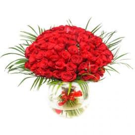 Букет №220 из 51 красной розы с зеленью