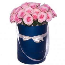 Хэт бокс №4 - 29 розовых роз в шляпной коробке