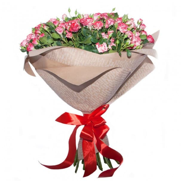 Букет №254 из кустовой розы в крафтовой бумаге с атласной лентой