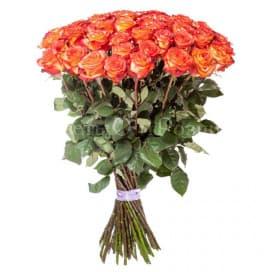 Красивый букет из 51 двухцветной розы №35
