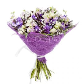 Букет цветов №58 из альстромерий, гипсофил, папоротников, роз
