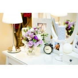 Свадебный букет СВ109 в стиле прованс из хамелациума, маттиолы, эустомы,розы