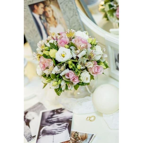 Свадебный букет СВ121 из розы, альстромерии, эустомы