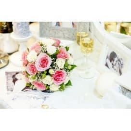 Свадебный букет СВ124 в стиле прованс из розовых и белых роз