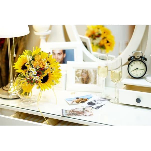 Свадебный букет СВ130 из подсолнухов, роз, ромашек