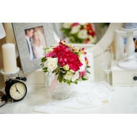 Бело-розовый свадебный букет СВ132