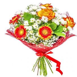 Пышный букет цветов В22 из гербер, гипсофил, роз, рускусов, хризантем