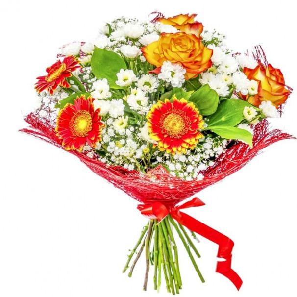 Пышный букет В22 из гербер, гипсофил, роз, рускусов, хризантем